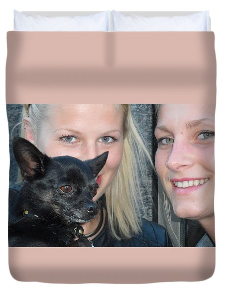 Duvet Cover featuring the photograph Dog And True Friendship 6 by Teo SITCHET-KANDA