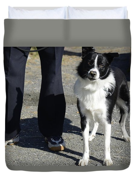 Duvet Cover featuring the photograph Dog And True Friendship 9 by Teo SITCHET-KANDA