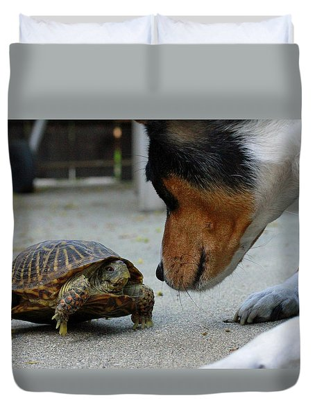 Dog And Turtle Duvet Cover