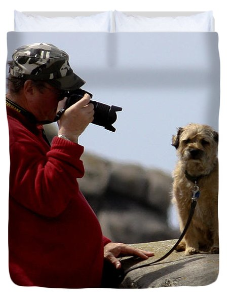 Dog Being Photographed Duvet Cover by Terri Waters