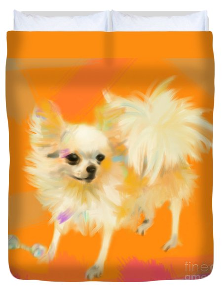 Dog Chihuahua Orange Duvet Cover