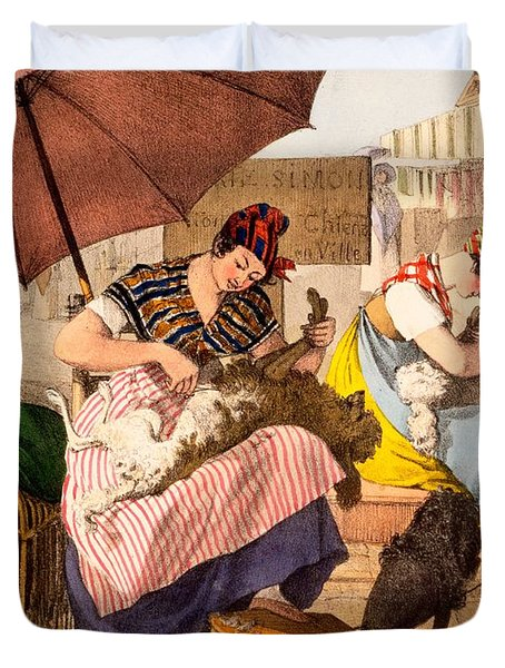 Dog Groomers, 1820 Duvet Cover by French School