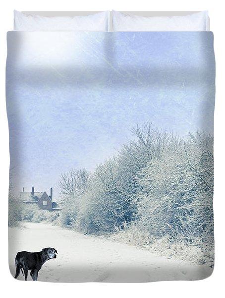 Dog Looking Back Duvet Cover by Amanda Elwell