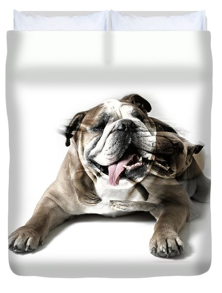 Duvet Cover featuring the photograph Dog Mastiff by Evgeniy Lankin