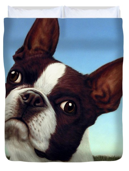 Duvet Cover featuring the painting Dog-nature 4 by James W Johnson