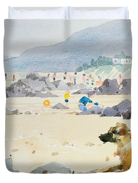 Dog On The Beach Woolacombe Duvet Cover by Lucy Willis