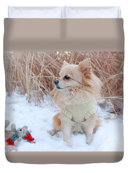 Duvet Cover featuring the photograph Dog Playing In Snow by Charline Xia