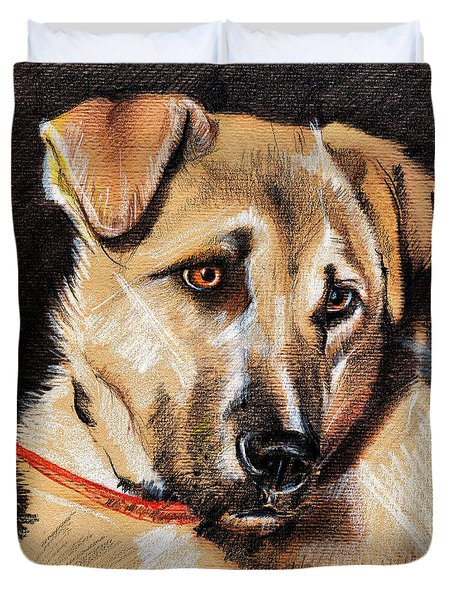 Dog Portrait Drawing Duvet Cover