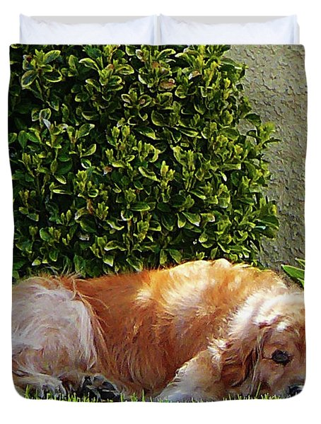 Dog Relaxing Duvet Cover by Susan Savad
