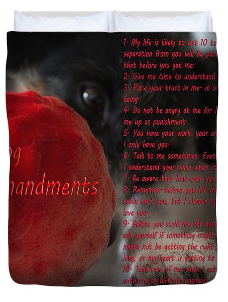 Dog Ten Commandments Duvet Cover by Stelios Kleanthous