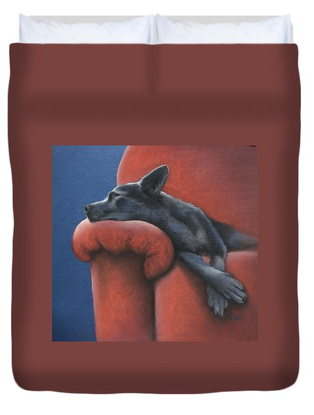 Dog Tired Duvet Cover by Cynthia House