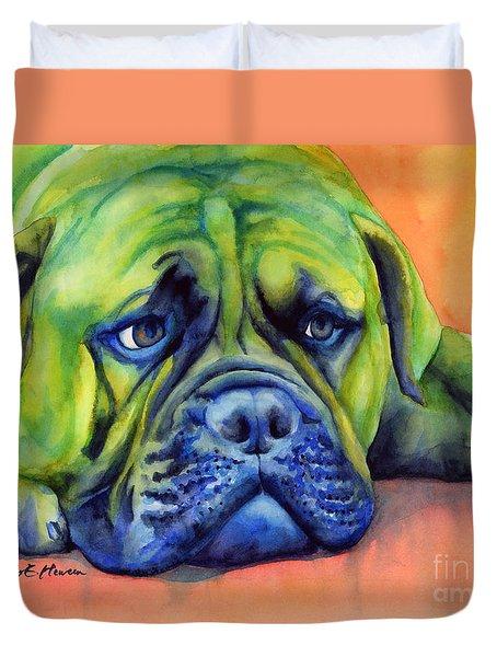 Dog Tired Duvet Cover by Hailey E Herrera