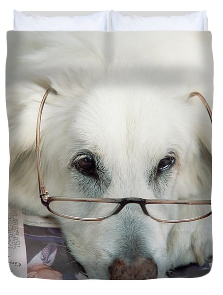 Dog And The News Duvet Cover