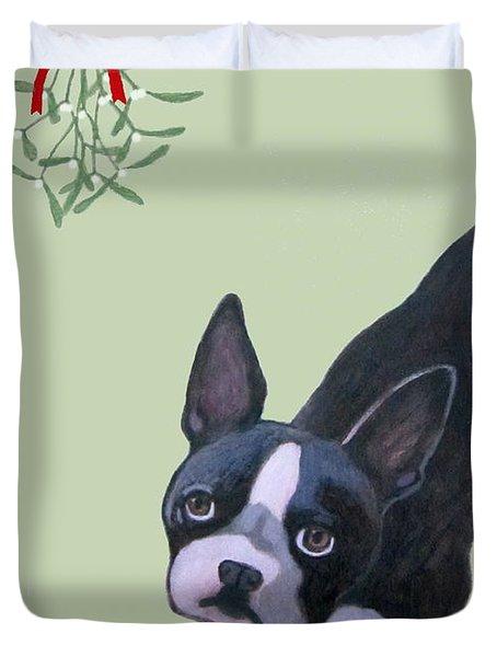 Dog With Mistletoe For Christmas Cards Duvet Cover