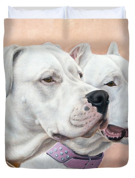 Dogo Argentino Duvet Cover by Tobiasz Stefaniak