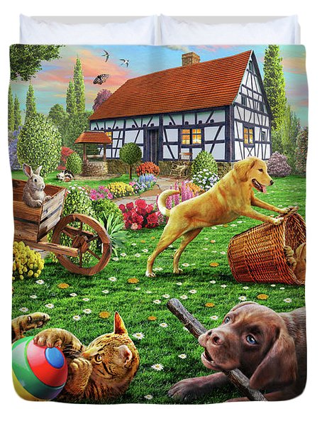 Dogs And Cats At Play Duvet Cover