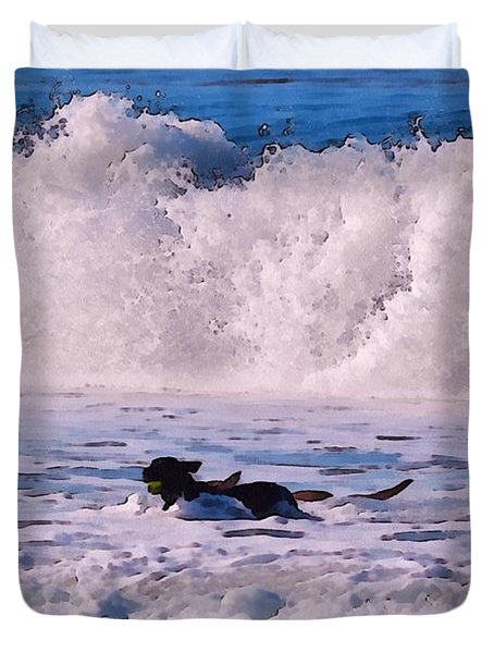 Dogs At Carmel California Beach Duvet Cover by Barbara Snyder