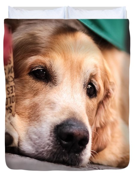 Duvet Cover featuring the photograph Dog's Sorrow by Stwayne Keubrick