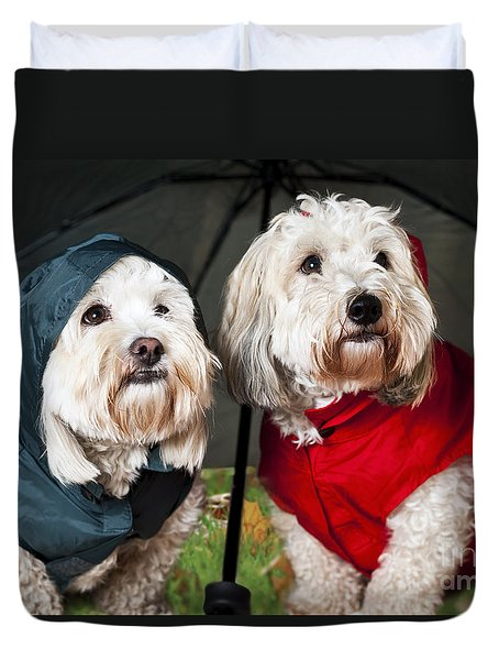 Dogs Under Umbrella Duvet Cover