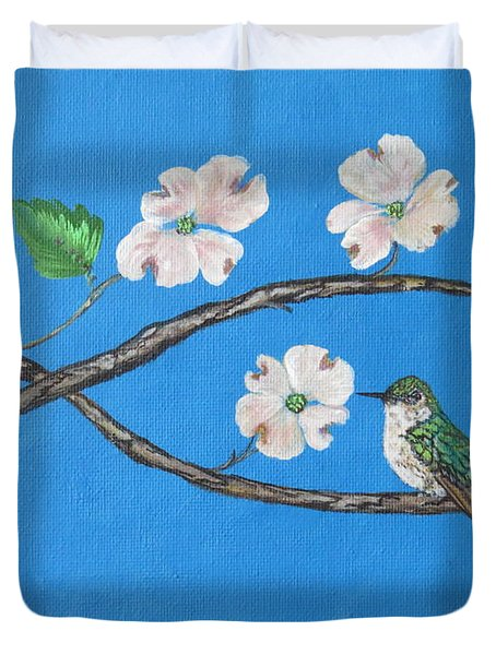 Duvet Cover featuring the painting Dogwood And Hummingbird by Ella Kaye Dickey