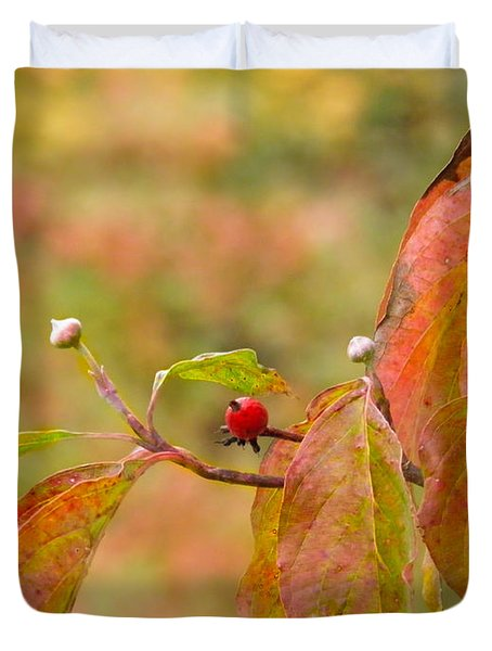 Duvet Cover featuring the photograph Dogwood Berrie by Nick Kirby
