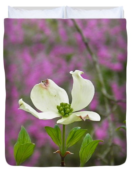 Dogwood Bloom Against A Redbud Duvet Cover