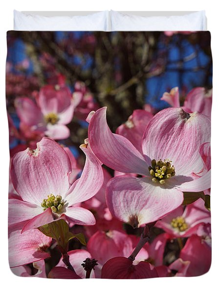 Dogwood Tree Flowers Art Prints Floral Duvet Cover by Baslee Troutman