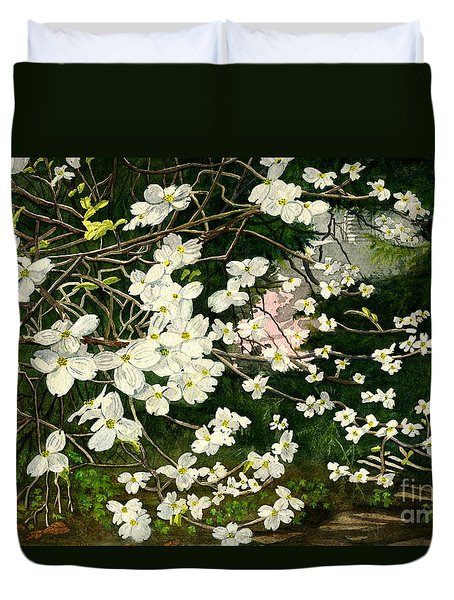 Duvet Cover featuring the painting Dogwoods Virginia by Melly Terpening