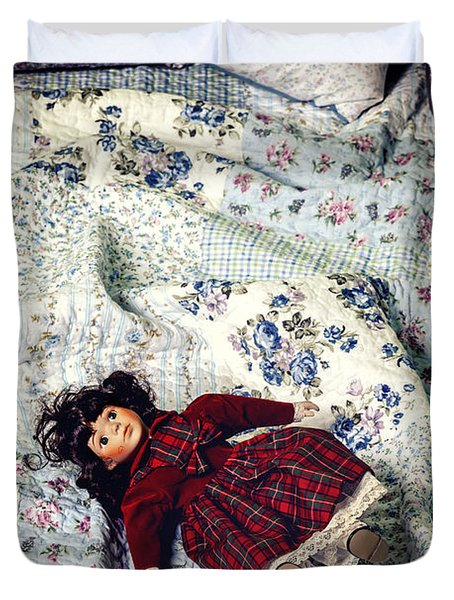 Doll On Bed Duvet Cover by Joana Kruse