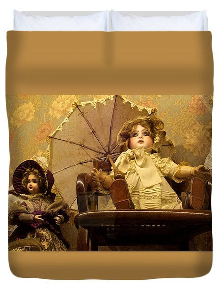 Antique Doll In Chair With Parasol Duvet Cover