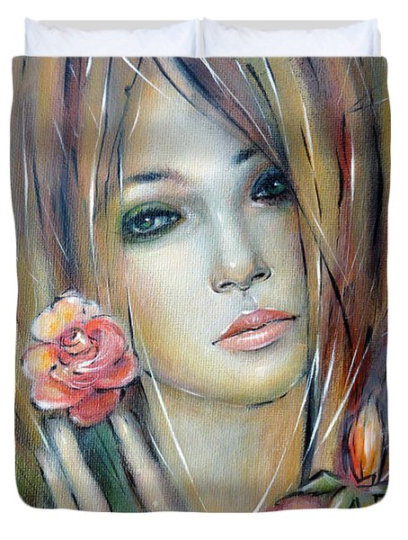 Doll With Roses 010111 Duvet Cover by Selena Boron