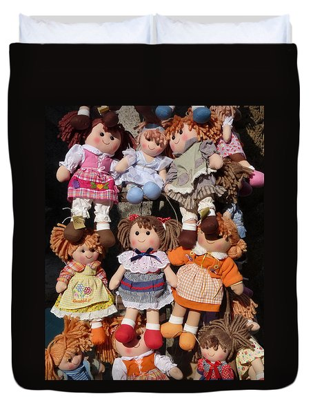 Duvet Cover featuring the photograph Dolls by Marcia Socolik