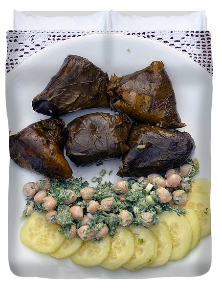 Dolmathes And Garbanzo Salad With Sliced Cucumbers Duvet Cover