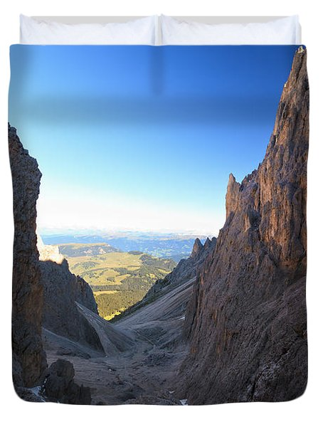 Duvet Cover featuring the photograph Dolomites At Morning by Antonio Scarpi