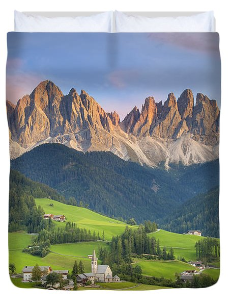 Dolomites From Val Di Funes Duvet Cover