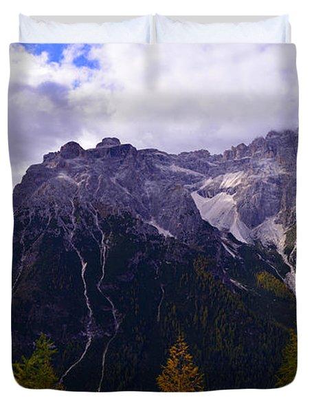 Dolomites In The Fall Duvet Cover