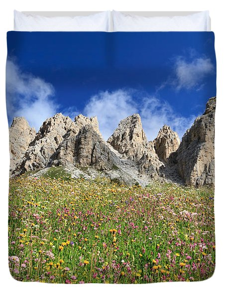 Duvet Cover featuring the photograph Dolomiti - Flowered Meadow  by Antonio Scarpi