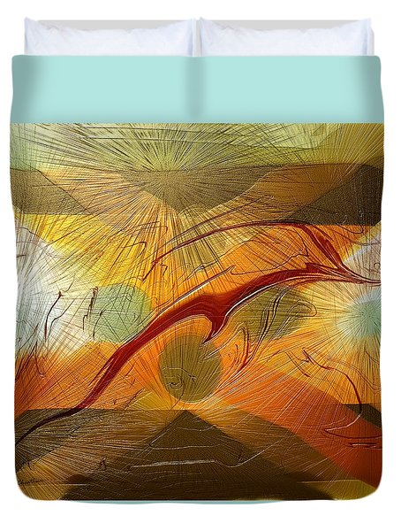 Dolphin Abstract - 2 Duvet Cover by Kae Cheatham