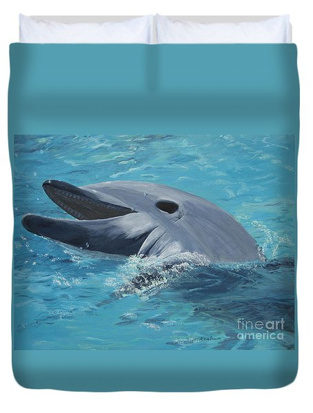Dolphin At Play Duvet Cover