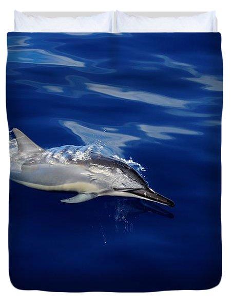 Dolphin Breaking Free Duvet Cover by John  Greaves