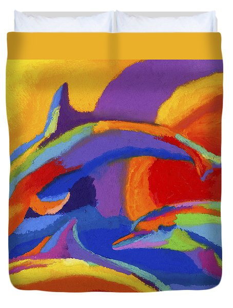Dolphin Dance Duvet Cover by Stephen Anderson