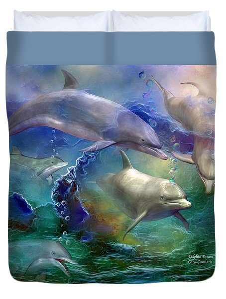 Dolphin Dream Duvet Cover by Carol Cavalaris