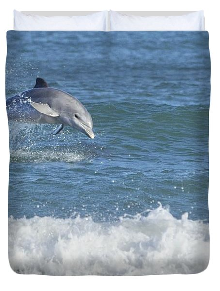 Dolphin In Surf Duvet Cover
