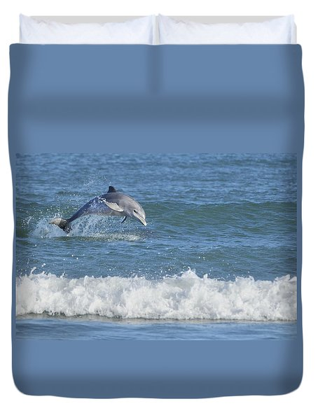 Dolphin In Surf Duvet Cover by Bradford Martin