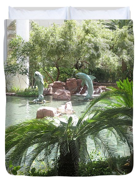 Dolphin Pond And Garden Green Duvet Cover by Navin Joshi