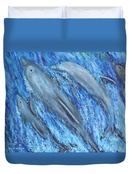 Dolphins At Play Duvet Cover by Penny Birch-Williams