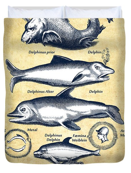 Dolphins - Historiae Naturalis - 1657 - Vintage Duvet Cover by Aged Pixel
