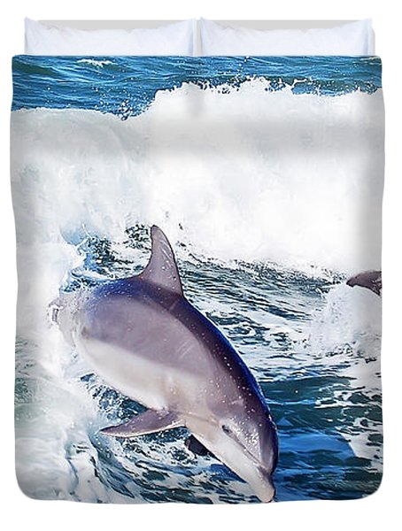 Dolphins Jumping Duvet Cover by Aimee L Maher Photography and Art Visit ALMGallerydotcom