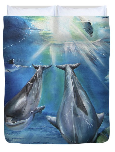 Dolphins Playing Duvet Cover