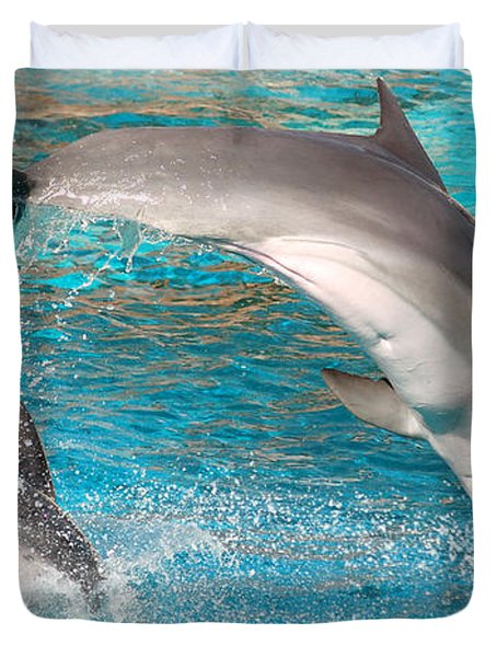 Dolphins Show Duvet Cover by Michal Bednarek